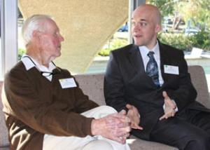 Barry Brook (right) talking with Frank Fenner at the Australian Academy of Science.