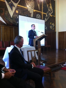 Leader of the Opposition, Bill Shorten, speaking about 'The Curious Country' (Dr. Brendan Nelson in foreground)
