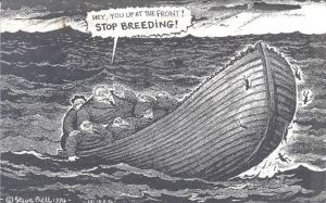 Stop breeding cartoon-Steve Bell 1994